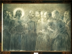 Christ among Apostles, by Gaetano Previati (1852-1920), charcoal on canvas