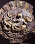 Silver shell-shaped cosmetics holder depicting goddess riding sea monster, Detail, Italy, Ancient Greek civilization, Magna Graecia, 3rd Century BC