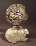 Silver shell-shaped cosmetics holder depicting of goddess riding sea monster, Italy, Ancient Greek civilization, Magna Graecia, 3rd Century BC