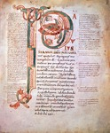 Page with illuminated capital letter, from the Code of Letters, by St Paul of Tarso, Code 1239, recto.