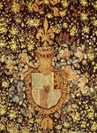 Charles the Bold's coat of arms, detail from tapestry of wildflowers, Heraldry, France, 15th century