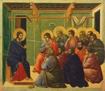 Christ is separated from the apostles, detail of tile from Episodes from Christ's Passion and Resurrection, reverse surface of Maesta' of Duccio Altarpiece in the Cathedral of Siena, 1308-1311, by Duccio di Buoninsegna (ca 1255 - pre-1319), tempera on wood