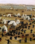 Argentine camp during war against Paraguay, by Candido Lopez, detail