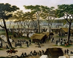 Establishing an Argentine military camp along River Parana, by Candido Lopez, detail