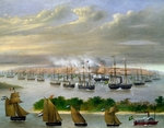 Argentinian fleet in channel of Paso de la Patria, April 23, 1866, by Candido Lopez