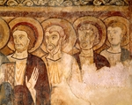 Apostles, detail from 12th century fresco in church at Abbey of Saint-Andre, Lavaudieu, France
