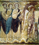 Apostles, 12th century romanesque frescoes from Chapter House of ancient Abbey of Saint-Andre, Lavaudieu, France
