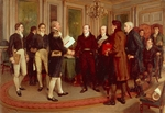 A Hundred Years Peace, the signing of the Treaty of Ghent between Great Britain and the US Dec. 24, 1814, to end the War of 1812. Painting by Amedee Forestier (1854-1930) made in 1914, oil on canvas, 71.4 x102 cm. Belgium, 19th century.