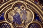 Tile depicting a scene of martyrdom, detail from the south wall of the upper chapel of the Holy Chapel, Paris, Ile-de-France, France, 13th century