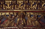 Angels and Holy Apostle, wooden relief from the canopy, upper chapel of the Holy Chapel, Paris, Ile-de-France, France, 13th century