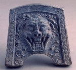Tile with monster mask in relief, grey pottery, from Bomun-tong, Kyongju, South Korea, Korean Civilisation, Unified Silla, 7th-8th century