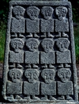 Ireland, Moone, Twelve apostles, detail of granite cross with crucifixion and apostles