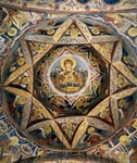 Romania, Moldovita Monastery, Vault fresco depicting Virgin Mary and Child, apostles and evangelists