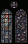 Stories of St. Anthony and Notre-Dame de la Belle Verriere (Our Lady of Beautiful Window) 12th-13th century Stained-glass window from southern ambulatory of Chartres Cathedral (UNESCO World Heritage List, 1979), France.