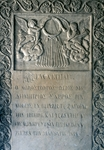 Tombstone from cloister of Stavropoleos Church (Biserica Stravrapoleos), founded in 1724, Bucharest, Romania.