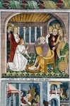 France, La Brigue, Notre-Dame des Fontaines Chapel, Jesus washing apostles' feet, fresco, by Giovanni Canavesio, 1491