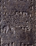 New Year celebration, grey limestone tombstone relief decoration from Anyang Region, Henan, China, detail, Chinese Civilization, Northern Qi Dynasty, 6th century