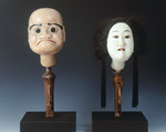 Two puppet heads from Bunraku theater, 19th century, artefact A: male head in polychrome wood 15 cm in height, artefact B: female head in painted wood,14 cm in height, Japanese civilization, Edo period (1603-1868)