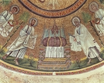 St Paul, St Peter and Etimasia (prepared throne), detail from procession of Apostles, mosaic, dome of Arian Baptistery (UNESCO World Heritage List, 1996), Ravenna, Emilia-Romagna, Italy, 5th-6th century
