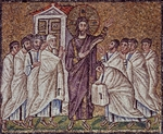 Christ's appearance to Apostles and doubting St Thomas, mosaic, south wall, upper register, Basilica of St Apollinaris Nuovo (UNESCO World Heritage List, 1996), Ravenna, Emilia-Romagna, Italy, 6th century