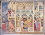 Martyrdom of St Lucia from Syracuse, who remained immune to hot oil and burning is being stabbed by thug, 1379-1384 by Altichiero (circa 1330-1393) and Jacopo Avanzi (died 1416), fresco, Oratory of St George, Padua, Veneto, Italy, 14th century