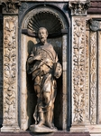Statue of Apostle attributed to Cristoforo and Antonio Mantegazza, left side of facade, Certosa di Pavia, Italy, 14th-16th century