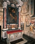 Madonna and Child with Saints Peter and Paul, 1641, altarpiece by Guercino (1591-1666), Natural and architectural setting, 1680, altar antependium by Carlo Battista Sacchi, Sixth chapel on right, Certosa di Pavia, Italy, 17th century