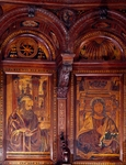 St Philip Apostle and St James Less, inlaid wooden choir stalls built in 1468-1498, Certosa di Pavia. Italy, 14th-16th century.