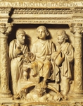 Christ between St Peter and St Paul, detail from Giunio Basso's marble sarcophagus, St Peter's Treasury Museum, St Peter's Basilica, Rome, Vatican City, 4th century AD