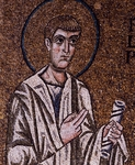 Half-figure of Apostle Philip, detail from enthroned Virgin with archangels and apostles, mosaic, Chapel of Blessed of Holy Sacrament, or apse of Santa Maria Assunta, Trieste Cathedral (dedicated to St Justus), Trieste, Italy, 12th century.