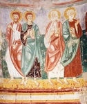 Apostles, 13th century, detail of fresco from apse of Basilica of Santa Maria Libera in Foro Claudio, also known as Episcopio, Ventaroli, Campania, Italy, 13th century