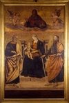 Madonna Enthroned with Child, St Peter and St Paul, by Francesco Cicino Da Caiazzo, altarpiece from Chapel of Immaculate Conception, Church of San Paolo Maggiore, Naples, Campania, Italy, 15th century