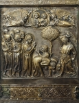 Martyrdom of St James, panel on frontal of altar of St James, by Andrea di Jacopo d'Ognabene (active 1285-1316), silver foil with embossed decoration, Chapel of Crucifix, Cathedral of St Zeno, Pistoia, Italy, circa 1316