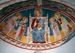 Christ sitting on Throne and Saints Peter, Paul, John Evangelist and John Baptist, frescoes in crypt, Abbey of St John in Venus, Fossacesia, Italy, 12th century