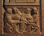 Tombstone of university lecturer decorated with relief, Church of Eremitani (Hermits), Padua, Veneto, Italy, 14th century