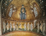 Enthroned Virgin with archangels and apostles, mosaic, apse of Santa Maria Assunta, Trieste Cathedral (dedicated to St Justus or Cattedrale di San Giusto), Trieste, Friuli-Venezia Giulia, Italy, 12th century