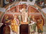 Christ Blessing and Apostles, by Gianfrancesco da Tolmezzo (ca 1450-after 1511), fresco, San Martino (St Martin) Church, Socchieve, Friuli-Venezia Giulia, Italy, 1493