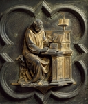 Church Father, bronze panel by Lorenzo Ghiberti (1378-1455), North Door, Baptistery of San Giovanni Battista, Florence, Italy, 15th century