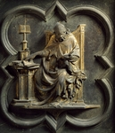 Church Fathers, panel by Lorenzo Ghiberti (1378-1455), North Door, Baptistery of San Giovanni Battista, Florence, Italy, 15th century