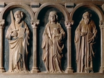 Saints Paul, Mary Magdalene and Anthony Abbot, detail of sarcophagus of Filippo Sangineto, Tuscan-Neapolitan School, Church of Santa Maria della Consolazione, Altomonte, Calabria, Italy, 14th century