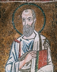 Half- figure of Apostle Paul, from enthroned Virgin with archangels and apostles, mosaic, Chapel of Blessed of Holy Sacrament, or apse of Santa Maria Assunta, Trieste Cathedral, Trieste, Italy, 12th century