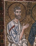 Half- figure of Apostle Simon, from enthroned Virgin with archangels and apostles, mosaic, Chapel of Blessed of Holy Sacrament, or apse of Santa Maria Assunta, Trieste Cathedral, Trieste, Italy, 12th century