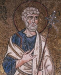 Half- figure of Apostle Peter, from enthroned Virgin with archangels and apostles, mosaic, Chapel of Blessed of Holy Sacrament, or apse of Santa Maria Assunta, Trieste Cathedral, Trieste, Italy, 12th century
