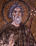 Half- figure of Apostle Andrew holding up starry cross, from enthroned Virgin with archangels and apostles, mosaic, Chapel of Blessed of Holy Sacrament, or apse of Santa Maria Assunta, Trieste Cathedral, Italy, 12th century