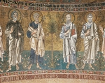 Four Apostles, from enthroned Virgin with archangels and apostles, mosaic, Chapel of Blessed of Holy Sacrament, or apse of Santa Maria Assunta, Trieste Cathedral, Trieste, Italy, 12th century