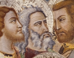 Figures of Apostles, detail from Judas' Betrayal, Apostles escape, 14th century fresco from Master Trecentesco of Sacro Speco School, Upper Church of Sacro Speco Monastery, Subiaco, Italy, 14th century