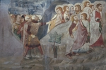 Judas' Betrayal, Apostles escape, 14th century fresco from Master Trecentesco of Sacro Speco School, Upper Church of Sacro Speco Monastery, Subiaco, Italy, 14th century
