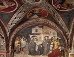 Martyrdom of Saint Placid, fresco by Umbrian Master, 15th century, transept of Upper Church of Sacro Speco Monastery, Subiaco. Italy, 15th century.