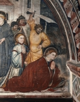 Detail from right section of the Martyrdom of Saint Placid, fresco by Umbrian Master, 15th century, transept of Upper Church of Sacro Speco Monastery, Subiaco. Italy, 15th century.