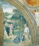 Slaying of Saint Peter, detail from Stories of Saint Peter Martyr, by Vincenzo Foppa, 1460, fresco